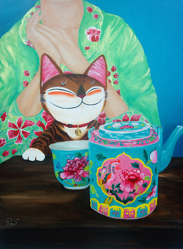 Singapore cat art, Tea Time