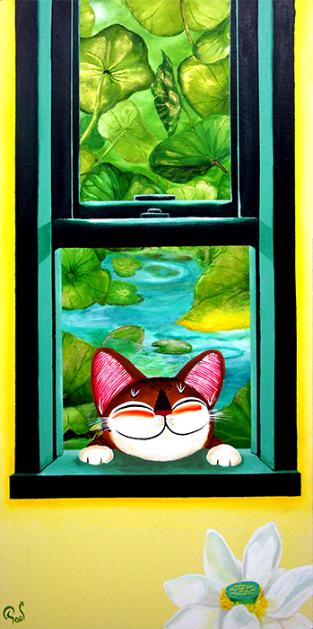 Singapore cat art, A Window Away - Scent