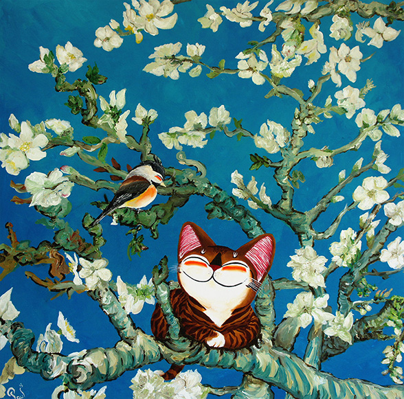 Singapore cat art, Almond Blossoms