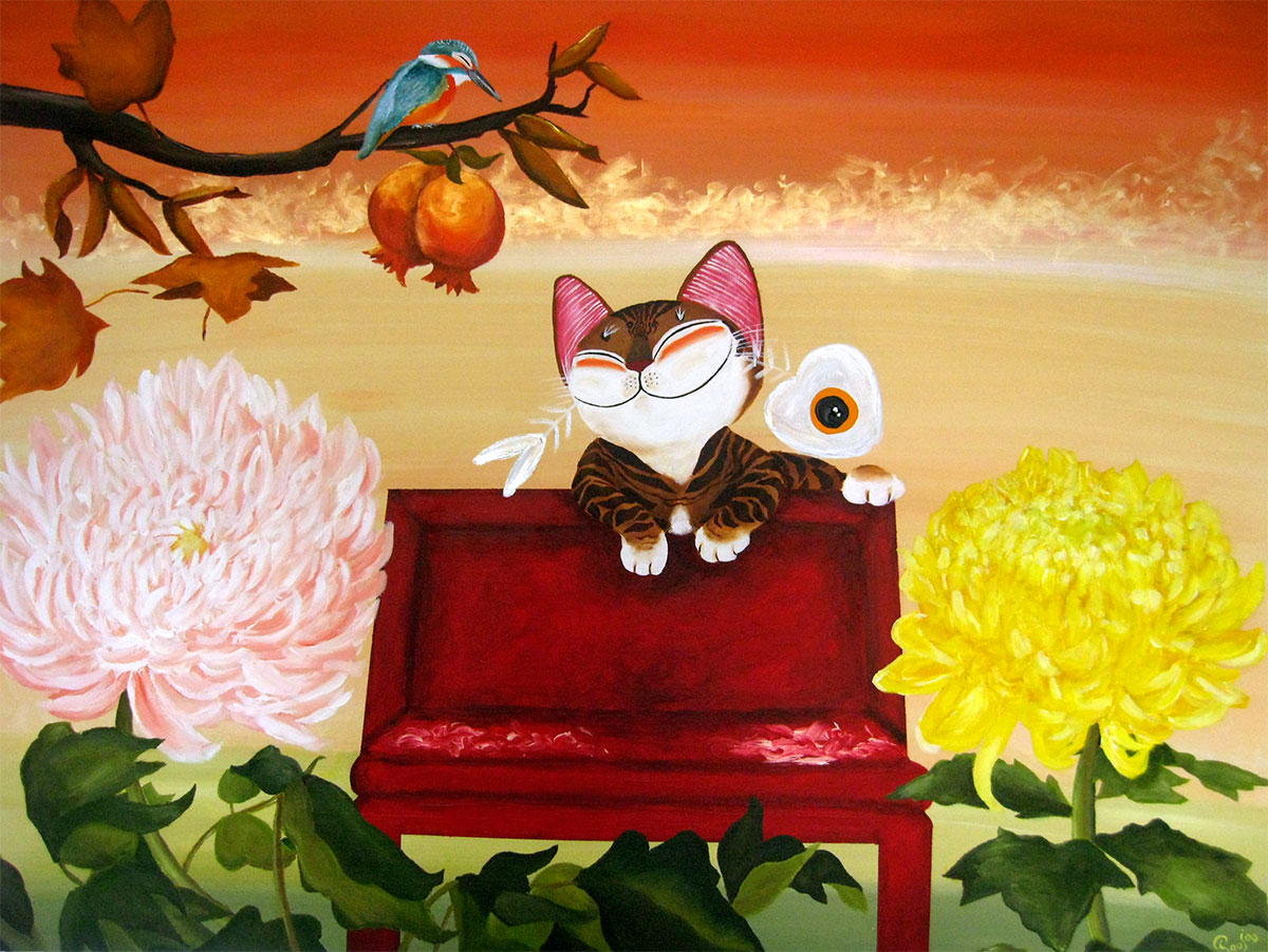 Singapore cat art, Autumn Cat
