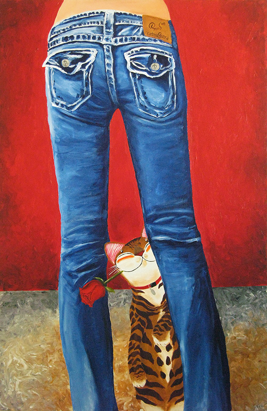 Singapore cat art, Blue Jeans