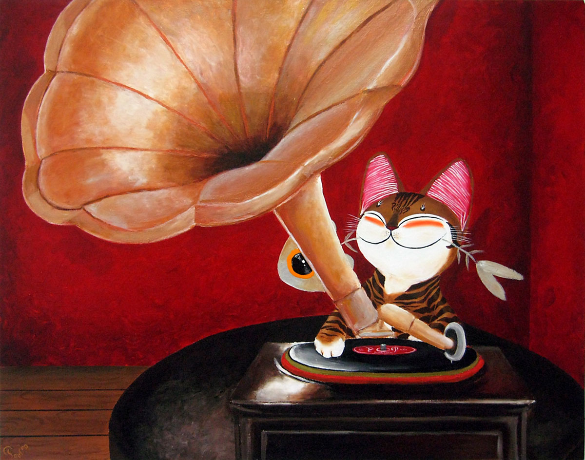 Singapore cat art, DJ Scratch