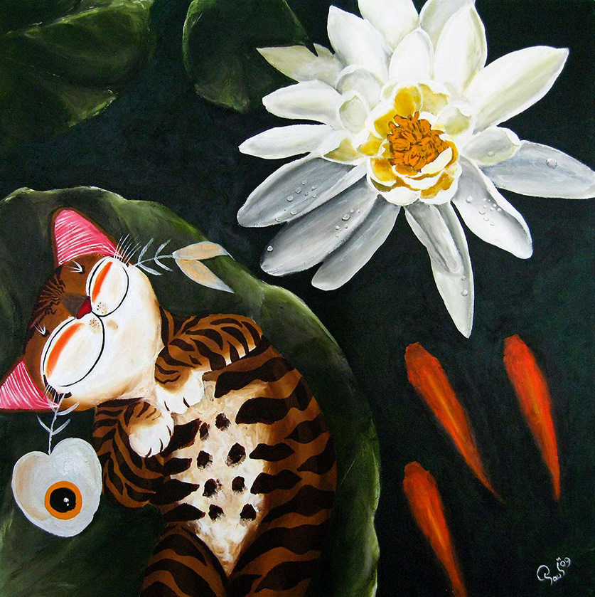 Singapore cat art, Lotus Lullaby