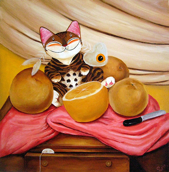 Singapore cat art, Still Life with Botero