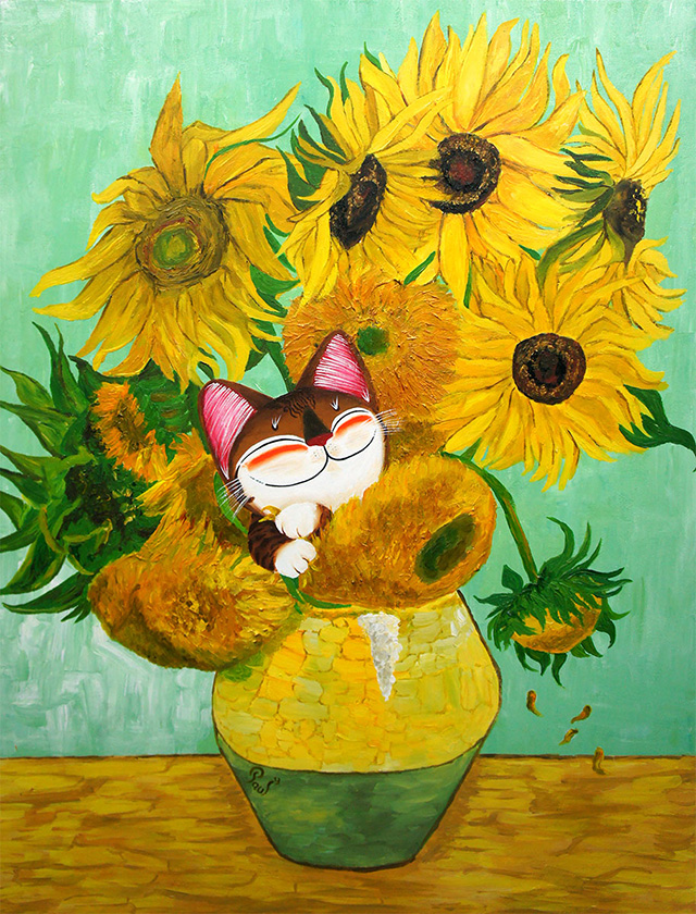 Singapore cat art, Sunflowers Surprise