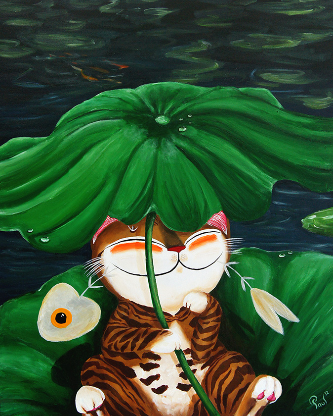 Singapore cat art, Under the Lotus Leaf