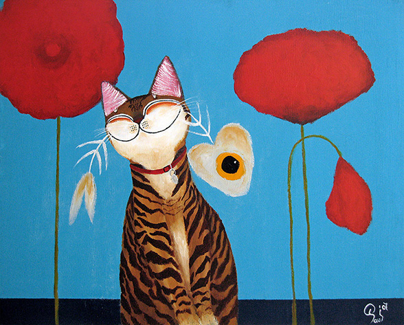 Singapore cat art, Sniffing the Kenzo Flower
