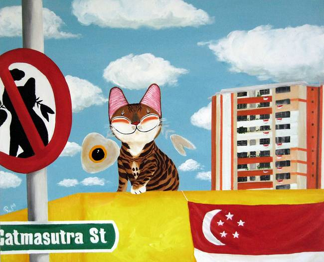 Singapore cat art, No Parking on Rooftops