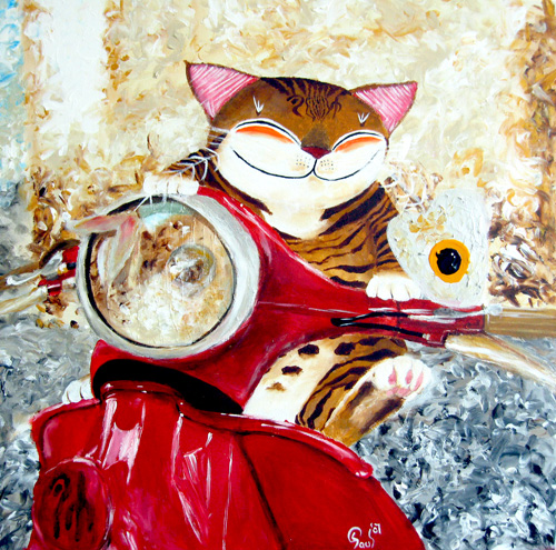 Singapore cat art, The Red Scooter