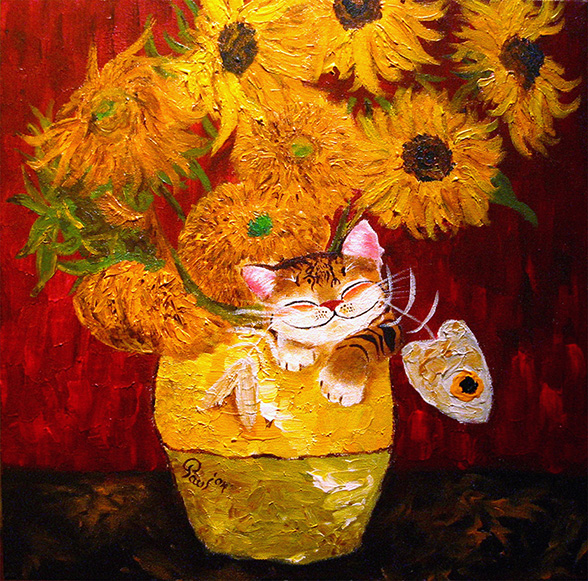 Singapore cat art, Sunflowers